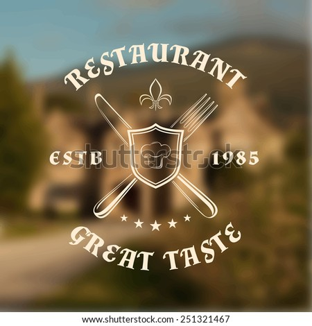 Restaurant logo template with shield, knife and fork, on blurred vintage background. Vector illustration - stock vector