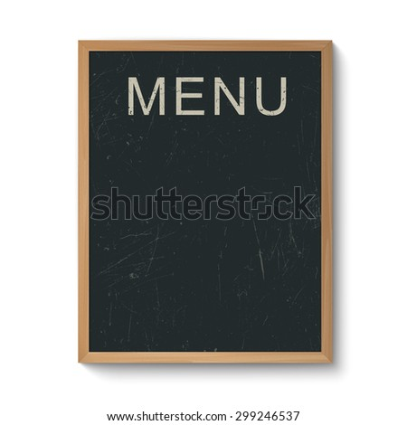 Restaurant menu blackboard template in a wooden frame. Isolated on white. - stock vector