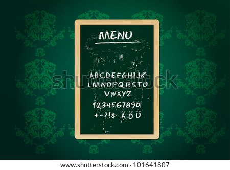 Restaurant menu board, chalk stroked alphabet, plus special characters - stock vector