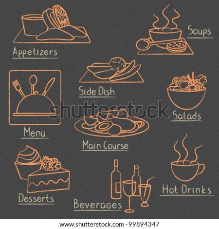Restaurant menu design elements on blackboard - stock vector