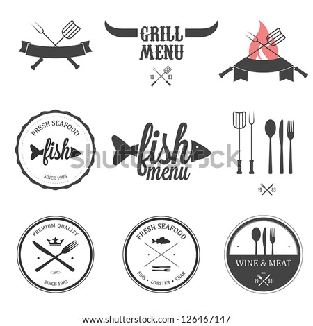 Restaurant menu design elements set - stock vector