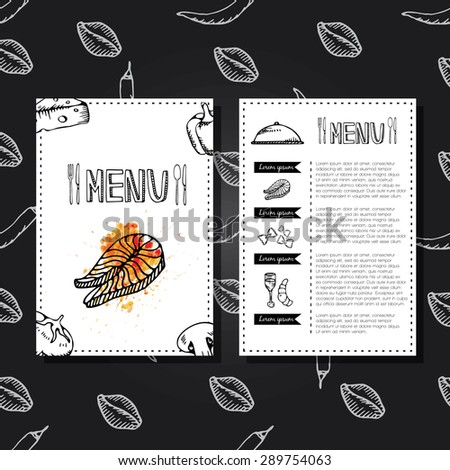 Restaurant menu design. Food menu, restaurant template design. Flyer cafe. - stock vector