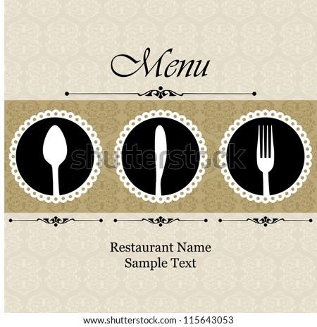 Restaurant menu design / Menu design with spoon, fork and knife - stock vector