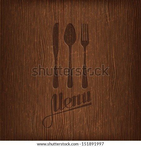 restaurant menu design on wood background - stock vector