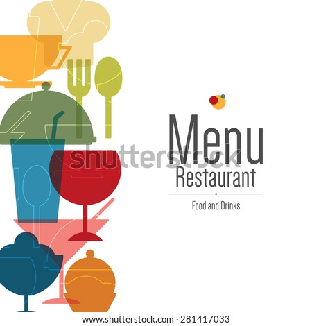 Restaurant menu design. Vector brochure template for cafe, coffee house, restaurant, bar. Food and drinks logotype symbol design. Flat design - stock vector