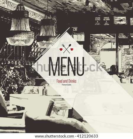 Restaurant menu design. Vector menu brochure template for cafe, coffee house, restaurant, bar. Food and drinks logotype symbol design. With a sketch pictures and crumpled vintage background - stock vector