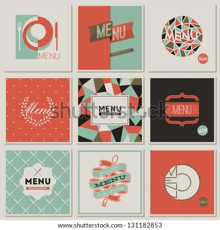 Restaurant menu designs. Collection of retro-styled vector illustrations. - stock vector