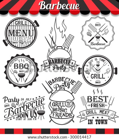 """Restaurant menu vintage design elements and badges set. Collection of vector barbecue signs, symbols and icons. BBQ badges stickers and labels food set. See more in set """"Labels"""" of my portfolio - stock vector"""