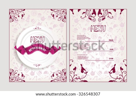 Restaurant menu with floral design elements and white plate - stock vector