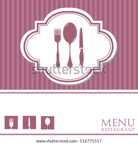 Restaurant menu with fork, spoon and knife. Menu design - stock vector