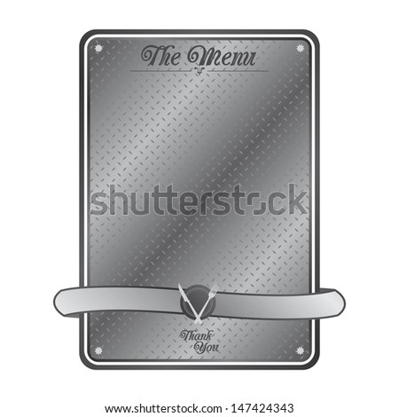 restaurant metal plate fine art - stock vector
