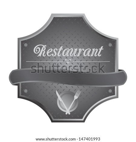 restaurant metal plate sign art - stock vector