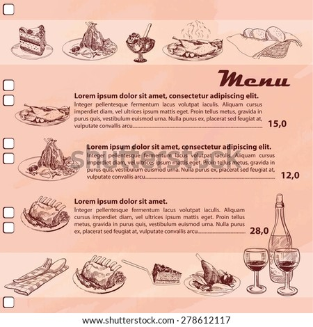 Restaurant or cafe menu page vector  template with sketch of food - stock vector