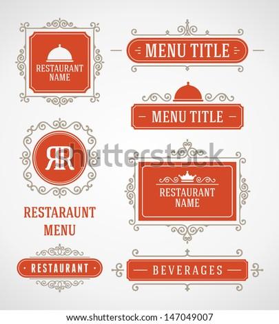 Restaurant or cafe menu vector design labels vintage style set. Flourishes calligraphic design elements. - stock vector