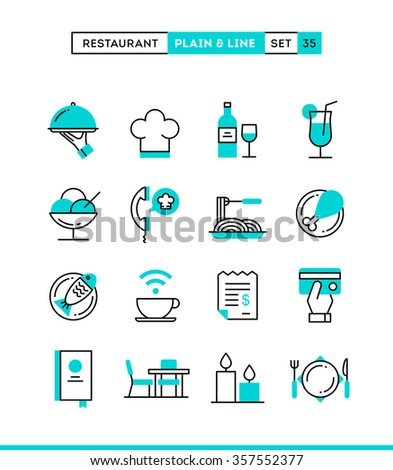 Restaurant, phone ordering, meal, receipt and more. Plain and line icons set, flat design, vector illustration - stock vector
