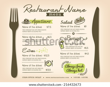 Restaurant Placemat Menu Design Template Layout - stock vector