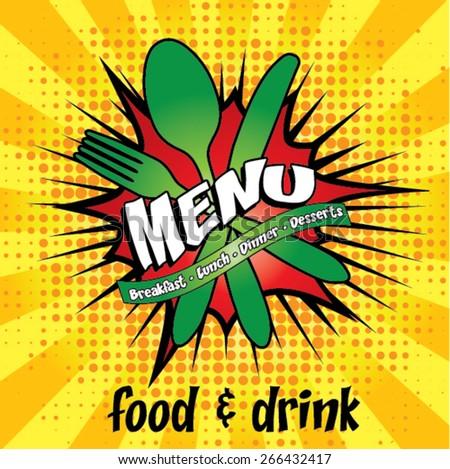 Restaurant Pop Art Menu Design - Food & Drink Vector Illustration. - stock vector