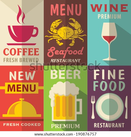 Restaurant posters set with flat design. Vector background - stock vector