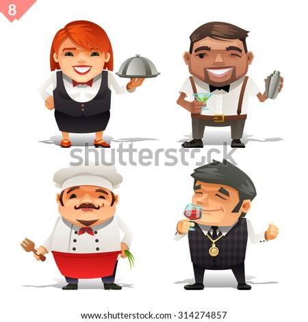 Restaurant professions set - stock vector