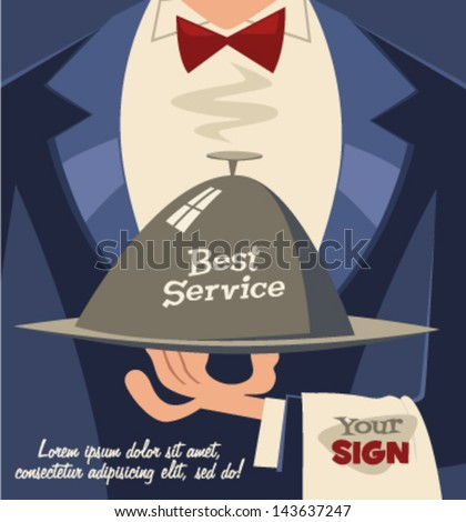 Restaurant service. Retro background - stock vector