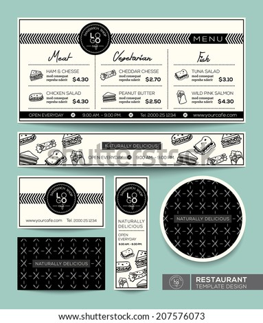 Restaurant Set Menu Sandwich Graphic Design Template - stock vector