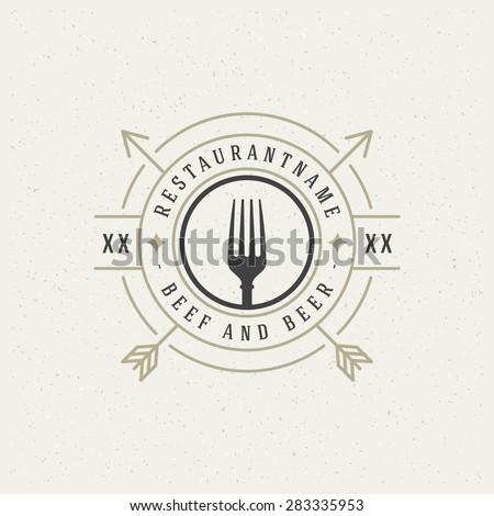 Restaurant Shop Design Element in Vintage Style for Logotype, Label, Badge and other design. Fork retro vector illustration. - stock vector