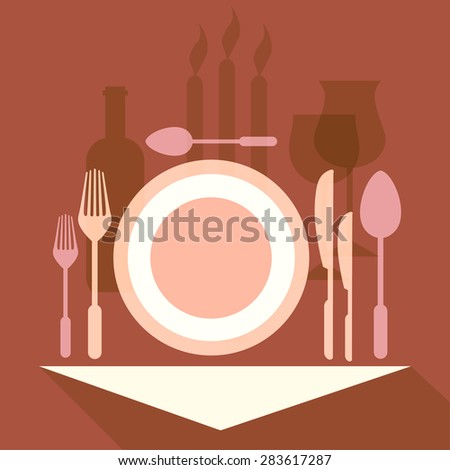 Restaurant,tableware, vector - stock vector
