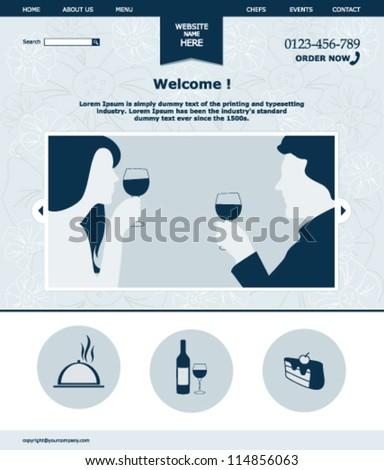 Restaurant website template - stock vector