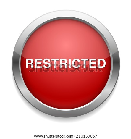 restricted button - stock vector