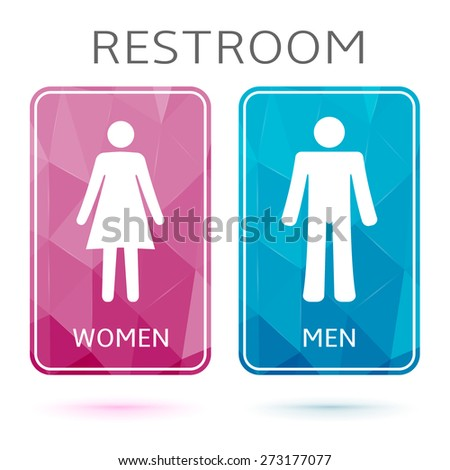 Restroom banners, toilet signs. Pink and blue wc signs with triangle texture. - stock vector