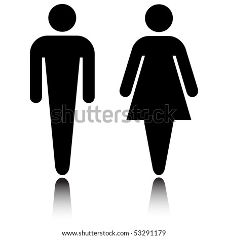 Restroom icon set with reflection isolated on white vector - stock vector