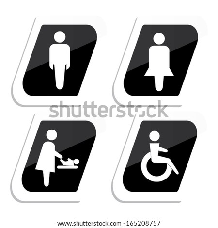 Restroom Male, Female, Baby Changing Sign, Handicap Sign sign vector illustration. - stock vector
