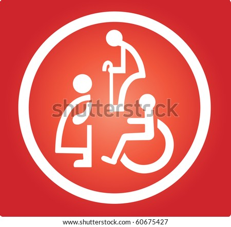 Restroom signs  for Pregnant woman,Handicapped and Aged person - stock vector