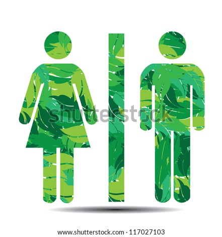 restroom symbol male and female leaves vector illustration - stock vector