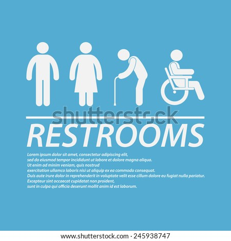 Restrooms sign - stock vector