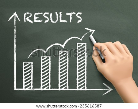 results graph graph drawn by hand isolated on blackboard - stock vector