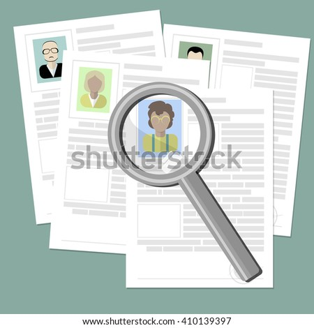 Resume with magnifier at the table.  Cv concept resume with photo, documents. Employment recruitment.  - stock vector