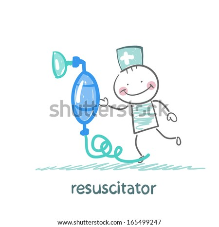 resuscitation with oxygen mask - stock vector