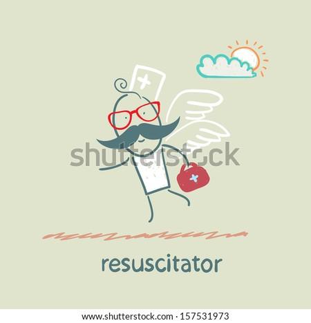 resuscitator flies to the patient - stock vector