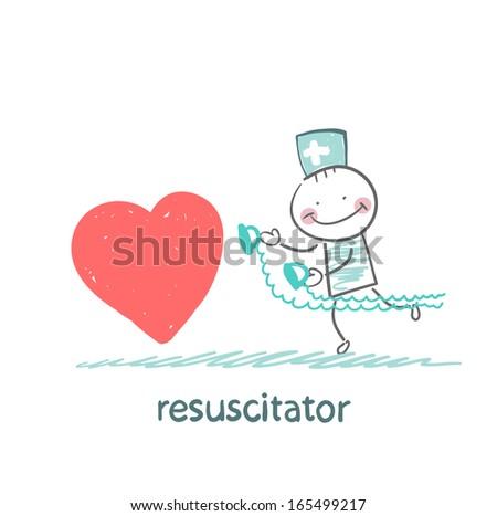 resuscitator hurry to the heart is sick - stock vector