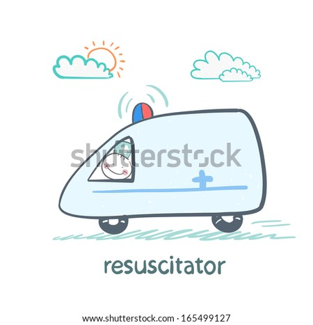 resuscitator rides in the ambulance - stock vector