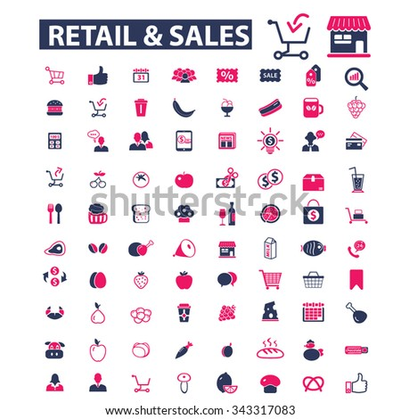 retail, supermarket, sales, shopping  icons, signs vector concept set for infographics, mobile, website, application  - stock vector