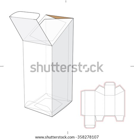 Retail Tapered Box with Die Cut Template  - stock vector