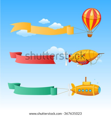 Retro Aircraft with Long Banners for Text on a Background of Sky. vector Illustration - stock vector