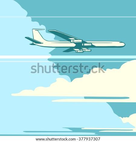 Retro airplane in the sky - stock vector