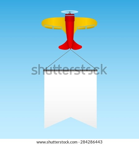 Retro airplane with a banner. Vector illustration. - stock vector