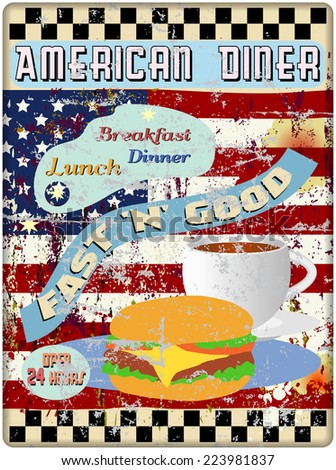 retro american diner enamel sign, worn and weathered, vector format - stock vector