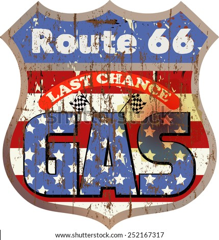 retro and grungy route 66 gas station sign, vector illustration - stock vector