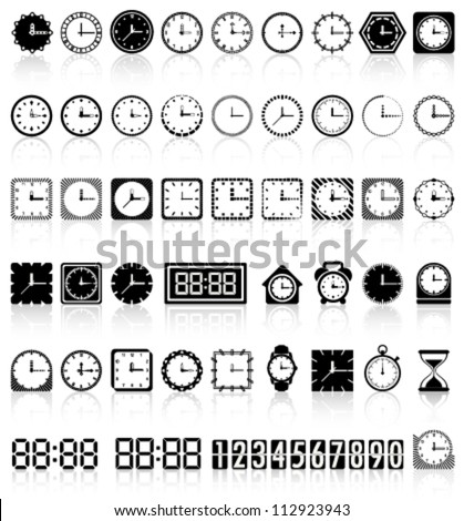 Retro and modern clock collection with reflection Vector - stock vector