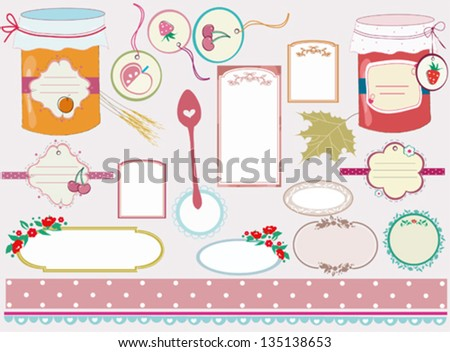 retro and sweet recipe tags - stock vector